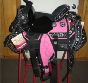 15 inch pink and black saddle